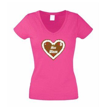 Lebkuchenherz Miss Wiesn - Damen T-Shirt mit V-Ausschnitt - pink