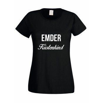 Emder Küstenkind - Damen T-Shirt - schwarz-weiß