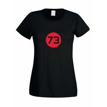 73 - Damen T-Shirt zu The Big Bang Theory - schwarz-rot