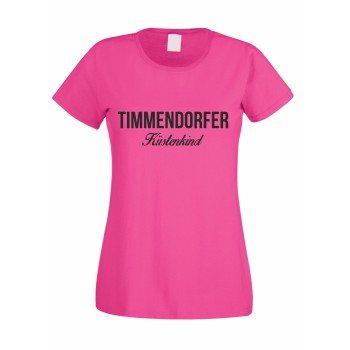 Timmendorfer Küstenkind - Damen T-Shirt - pink-schwarz