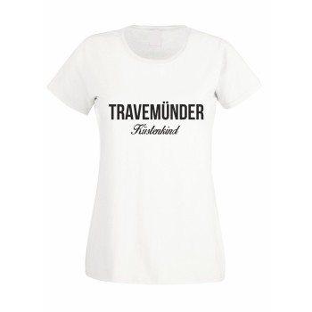 Travemünder Küstenkind - Damen T-Shirt - weiß-schwarz