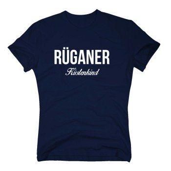 Rüganer Küstenkind - Herren T-Shirt - dunkelblau-weiß