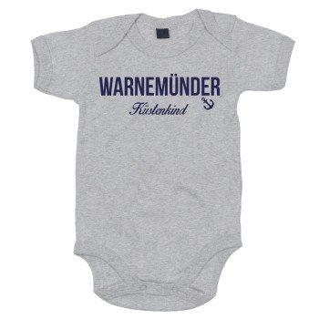 Warnemünder Küstenkind - Baby Body - grau-dunkelblau