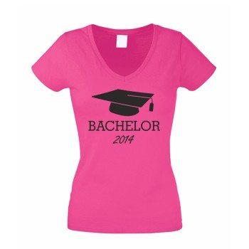 Master 2014 - Damen T-Shirt mit Doktorhut - pink-schwarz