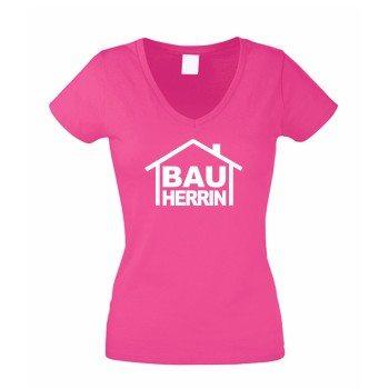 Bauherrin - Damen T-Shirt V-Ausschnitt - pink-weiß