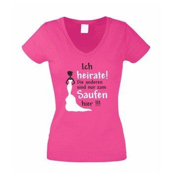 JGA T-Shirt - Damen V-NECK T-Shirt Junggesellenabschied Ich heirate - die anderen saufen pink