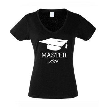 Master 2014 - Damen T-Shirt mit Doktorhut - schwarz-weiß
