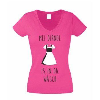 Dirndl Alternative - Damen V-NECK T-Shirt Mei Dirndl is in da Wäsch Oktoberfest pink