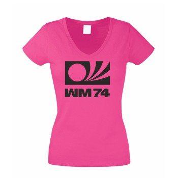 WM 74 - Damen T-Shirt V-Ausschnitt - pink-schwarz