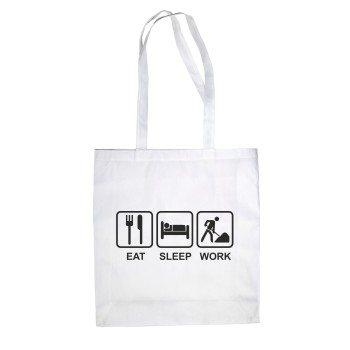 Eat, Sleep, Work - Jutebeutel mit Piktogrammen - weiß