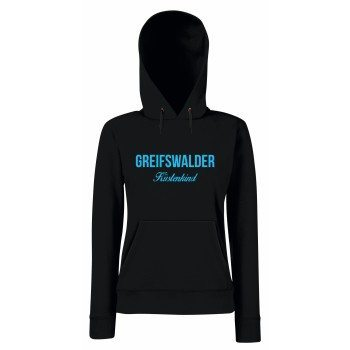 Greifswalder Küstenkind - Damen Hoodie - schwarz-blau