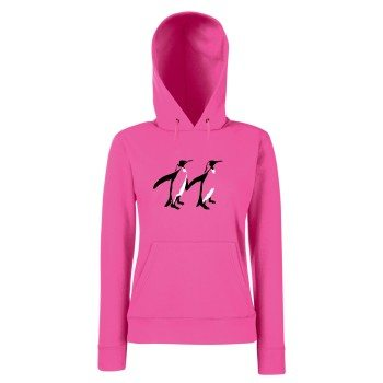 Pinguin Pärchen - Damen Hoodie - pink