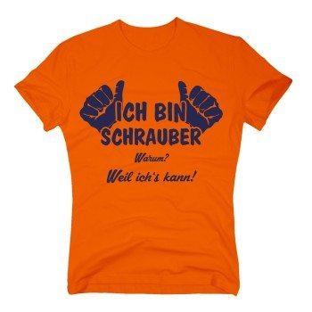 Ich bin Schrauber. Warum? Weil ich's kann! - Herren T-Shirt - orange-blau