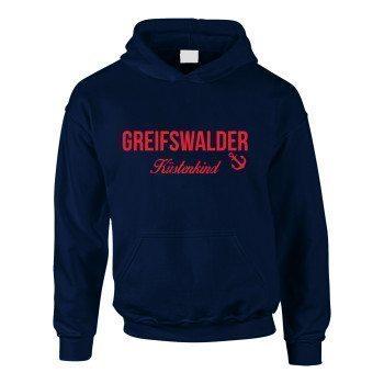 Greifswalder Küstenkind - Kinder Hoodie - dunkelblau-rot
