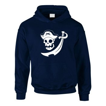 Kinder Hoodie mit Piratentotenkopf - dunkelblau