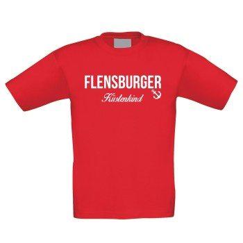 Flensburger Küstenkind - Kinder T-Shirt - rot-weiß