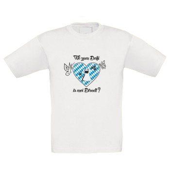 Wo zum Deifi is mei Dirndl? - Kinder T-Shirt - weiß