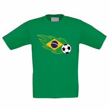 Kinder T-Shirt mit Brasilienflagge und Fußball - grün