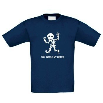 You tickle my bones - Kinder T-Shirt mit Skelett - dunkelblau-weiß