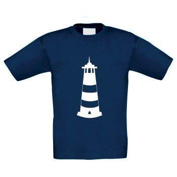 Kinder T-Shirt mit Leuchtturm - dunkelblau-weiß