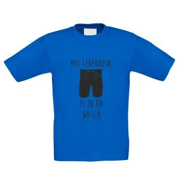 Mei Lederhosn is in da Wäsch - Kinder T-Shirt - blau