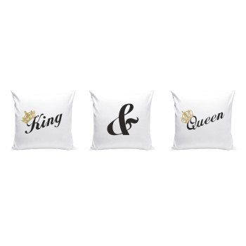 King & Queen - Dekokissen 3er Set - weiß-schwarz