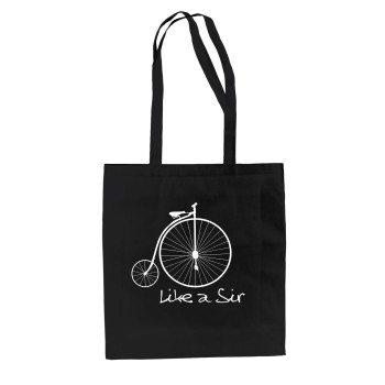 Like a Sir - Jutebeutel mit historischem Fahrrad - schwarz