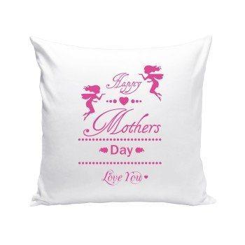 Happy Mothers Day , Love You - Dekokissen zum Muttertag - weiß