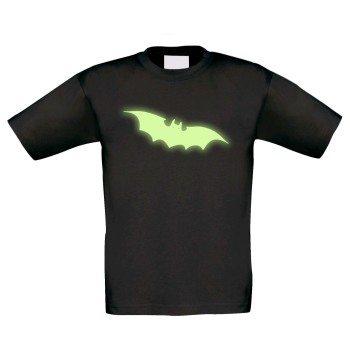 Halloween Fledermaus - Kinder T-Shirt - schwarz, leuchtet im Dunkeln