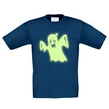 Halloween Geist - Kinder T-Shirt - dunkelblau, leuchtet im Dunkeln