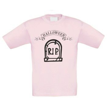 Halloween R.I.P. Grabstein - Kinder T-Shirt - rosa