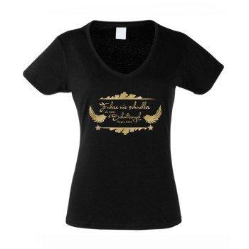 Fahre nie schneller als dein Schutzengel - Damen T-Shirt V-Ausschnitt - schwarz