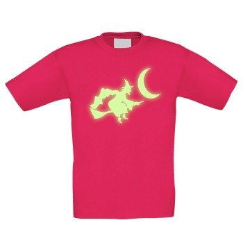 Kinder T-Shirt mit Hexe - pink, Motiv leuchtet im Dunkeln