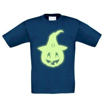 Halloween - Kürbisgesicht - Kinder T-Shirt - dunkelblau, leuchtet im Dunkeln