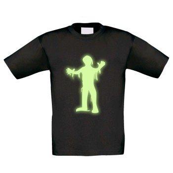 Kinder T-Shirt mit Mumie - schwarz, Motiv leuchtet im Dunkeln