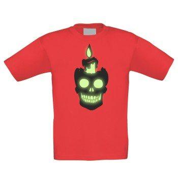 Totenkopf mit Kerze - Kinder T-Shirt - rot, leuchtet im Dunkeln