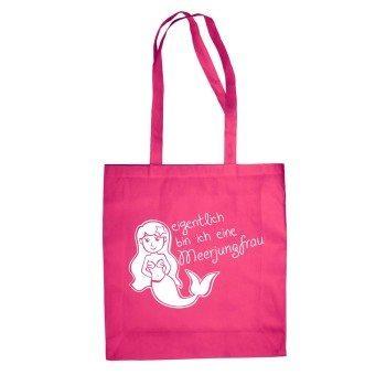 Eigentlich bin ich eine Meerjungfrau - Jutebeutel - pink