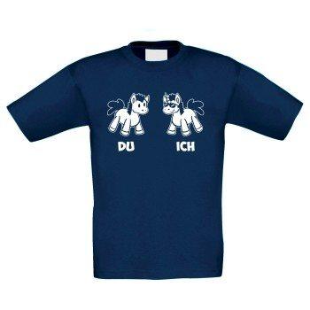 Kinder T-Shirt mit Einhörnern - dunkelblau