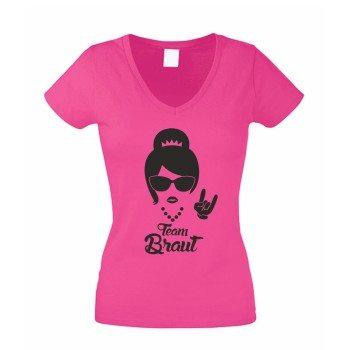 Team Braut T-Shirt Damen V-Neck Junggesellinnenabschied TEAM BRAUT Rock N' Roll