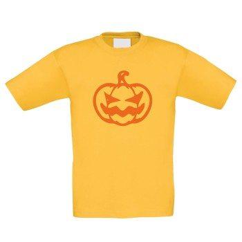 Kürbisgesicht für Halloween - Kinder T-Shirt - gelb