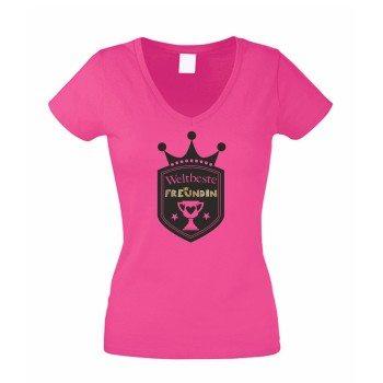 Weltbeste Freundin - Damen V-Neck T-Shirt - pink