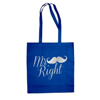 Mr Right - Tasche - Jutebeutel - blau