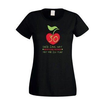 Damen T-Shirt 30. Geburtstag - Diese Zahl hat nichts mit mir zu tun schwarz rot