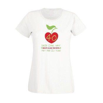 Damen T-Shirt 40. Geburtstag - Diese Zahl hat nichts mit mir zu tun weiss rot