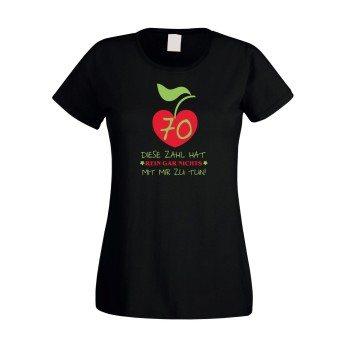 Damen T-Shirt 70. Geburtstag - Diese Zahl hat nichts mit mir zu tun schwarz rot