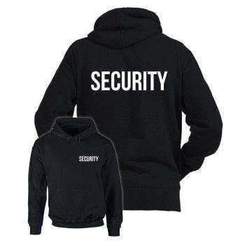 Security Bekleidung - Herren Hoodie - beidseitig gedruckt schwarz weiss