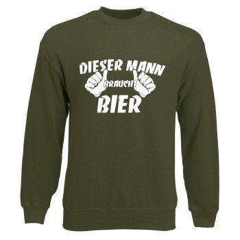 Bier Sweatshirt - Herren - DIESER MANN BRAUCHT BIER oliv
