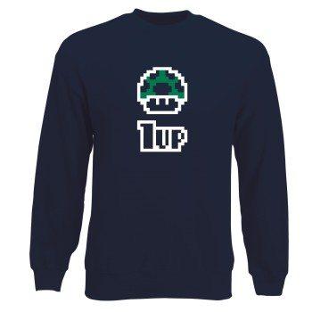 1UP Pilz - Mario - Herren Sweatshirt - dunkelblau
