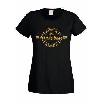Schaffe, schaffe Häusle baue - Damen T-Shirt zum Richtfest - schwarz