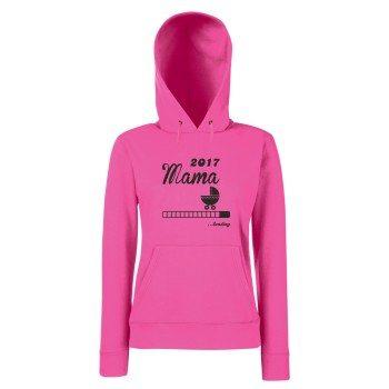 Mama Loading 2017 - Damen Hoodie - mit Kapuze - Familienzuwachs - pink - grau - schwarz - schneller Versand in 24 Stunden